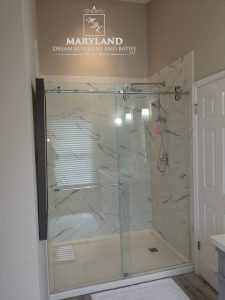 Luxury Bath Remodeling Contractor - replaced conventional tub with large walk-in shower