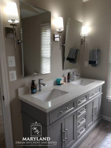 Luxury Bath Remodeling Contractor - Double Sinks Gray Cabinetry