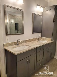 Luxury Bathroom Remodeling Project - Double Sink New Cabinetry New Countertop, New Fixtures