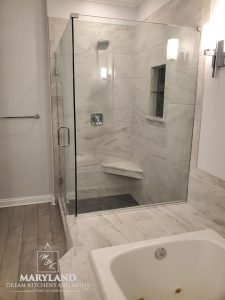 Luxury Bathroom Remodeling Project - Frameless Shower with Glass Door and Seat, Plus Luxury Tub